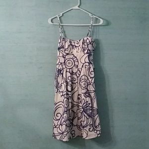 White and blue cotton sun dress